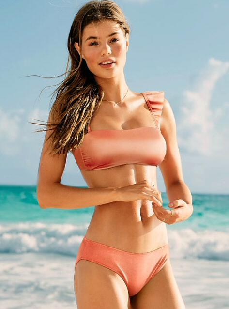 6d49eb55681dd Купальник PINK от Victoria's Secret персикового цвета со съемными  бретелями-крылышками, плавки-бикини со сборкой - Купить ...