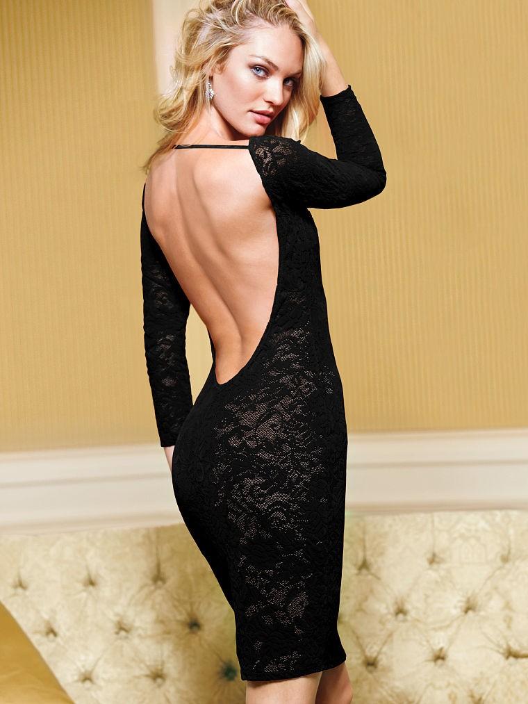 c71dadcb1783c Платье Victoria's Secret черное, кружевное, с открытой спиной ...