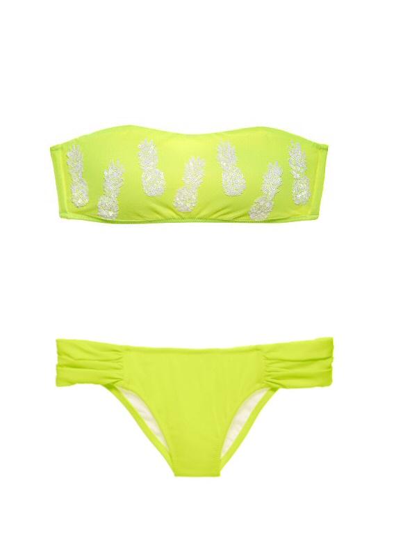 803a408604090 Купальник Victorias Secret Бандо яркий лимонный с белыми пайетками -  пальмами, плавки-итси - Купить на VS-BUTIK.RU
