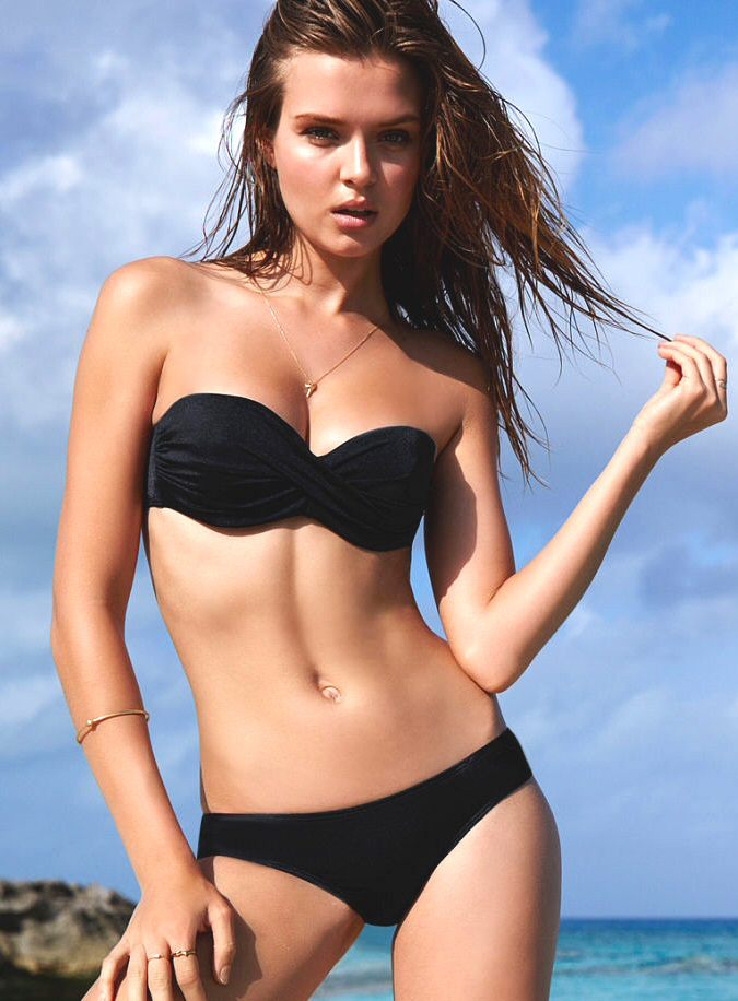 d125718d11b09 Купальник Victoria's Secret Твист-бандо PINK черного цвета с ...